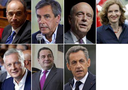 Los siete candidatos en las primarias de Los Republicanos. Arriba: Jean-Francois Copé, François Fillon, Alain Juppé, Nathalie Kosciusko-Morizet. Abajo: Bruno Le Maire, Jean-Frédéric Poisson y Nicolas Sarkozy.