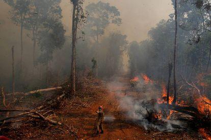 Un bombero de la operación Abafa Amazonía intenta apagar un incendio en Mato Grosso.