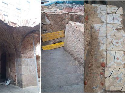 Restos arqueológicos hallados en las obras de remodelación de la plaza de España.
