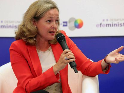 La ministra en funciones de Economía y Empresa en funciones, Nadia Calviño.