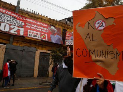 Manifestación contra Pedro Castillo, el sábado en las calles de Lima.