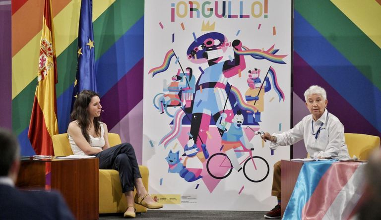 The Minister of Equality, Irene Montero, and the General Director of Sexual Diversity and LGTBI Rights, Boti García, present this Wednesday the campaign for Pride 2020.