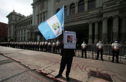 Manifestación en Ciudad de Guatemala contra la destitución del fiscal Juan Francisco Sandoval, el 24 de julio.