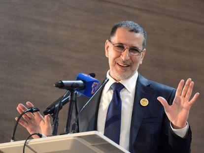 Saadedin el Othmani, jefe de Gobierno en Marruecos, durante una conferencia de prensa en Rabat el 18 de marzo.