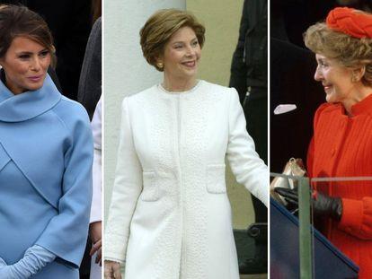 Melania Trump, Laura Bush y Nancy Reagan en 2017, 2005 y 1981.