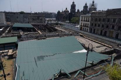 El techo derrumbado de la Casa de las Águilas, en el Templo Mayor.