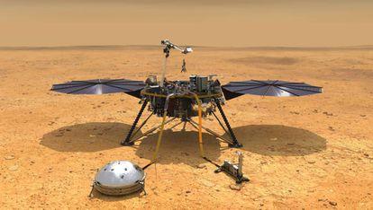 Recreación artística de la sonda 'Insight' sobre la superficie de Marte