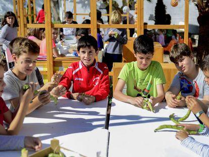 Alumnos del colegio Cervantes de Alboraia (Valencia), en el huerto escolar.
