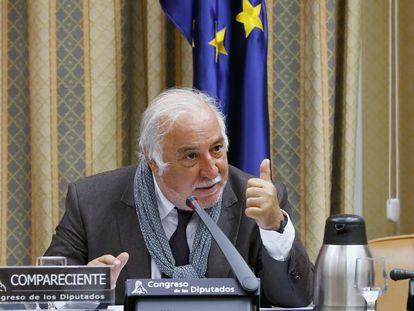 El director de la Dirección General de Tráfico, Pere Navarro, durante su comparecencia este jueves ante la Comisión de Seguridad Vial del Congreso.