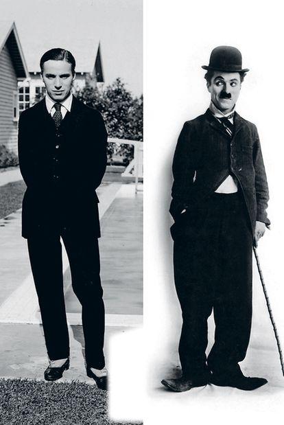 A la derecha, un jovencísimo e impecable Charles Chaplin. A la izquierda, Charlot. Un bombín chafado, una chaqueta demasido ajustada, unos pantalones demasiado grandes y un bastón de caña que mueve sin parar dieron vida al personaje que consiguió la inmortalidad para el cómico inglés.