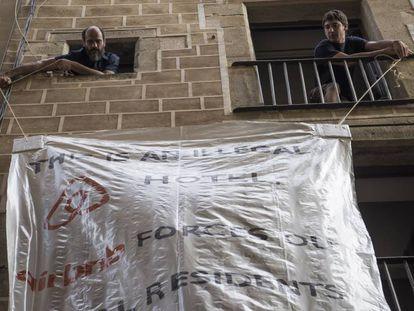 Protesta contra Airbnb en Barcelona.