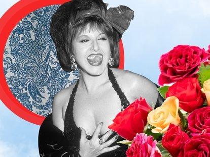 Loles León en el estreno de 'Átame' en el teatro Ziegfeld de Nueva York en 1990. (Montaje de Pepa Ortiz).
