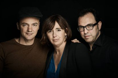 "Marc Parrot, Carol López y Sergi Belbel, autores de ""Homes, la comèdia musical""."
