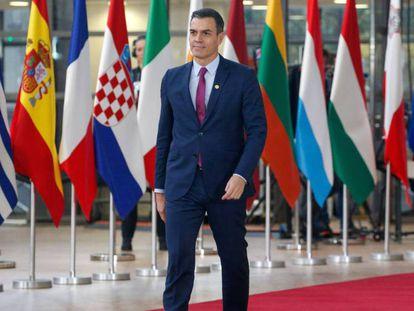 Pedro Sánchez, a su llegada a la cumbre de Bruselas. En vídeo, declaraciones de Sánchez sobre ERC.