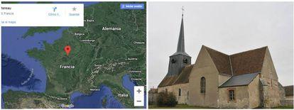 A la izquierda, ubicación de Montereau; a la derecha, la iglesia del pueblo. Foto: Croquant