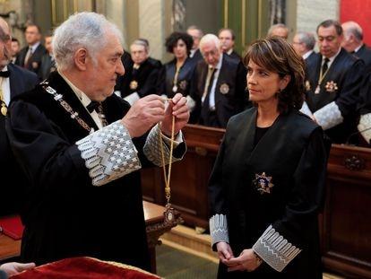 El magistrado Cándido Conde-Pumpido durante el acto de su toma de posesión de Dolores Delgado como fiscal general del Estado, en febrero de 2020.