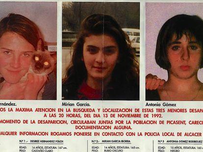 Cartel con el que se buscó a Desirée, Miriam y Toñi en 1992.