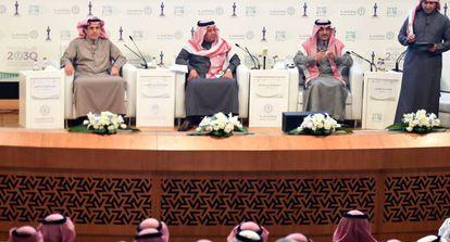 Ministros saudíes presentando este martes el presupuesto del Estado, en Riad