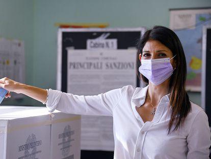 La alcaldesa de Roma y candidata al Ayuntamiento de la capital italiana, Virginia Raggi.