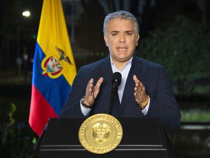 El presidente Iván Duque durante una declaración este lunes, en Bogotá.