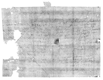 Reconstrucción virtual de una carta enviada en 1695.