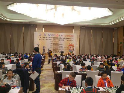 El salón donde se disputaron los campeonatos infantiles de China minutos antes del inicio de la primera ronda.