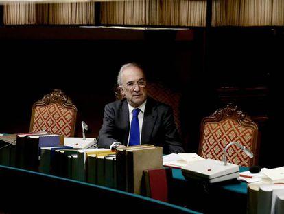 Santiago Muñoz Machado, ayer por la noche tras ser elegido director de la RAE, en el pleno.