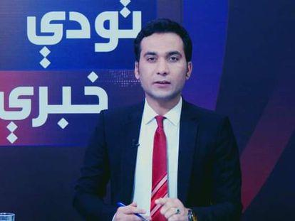 Saeed Shinwari, en el plató de televisión del canal ToloTV.