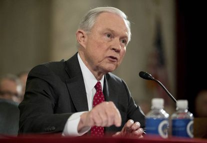 El fiscal general Jeff Sessions, durante las audiencias de confirmación del pasado enero.