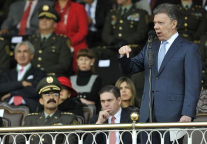 El presidente colombiano, Juan Manuel Santos, da un discurso.
