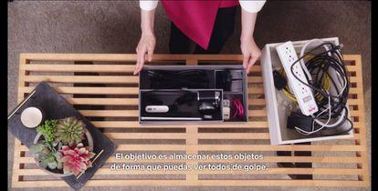 Pantallazo de las cajas que utiliza Kondo para ordenar los pequeños objetos