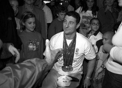 Chano Rodríguez, a su regreso de los Juegos Paralímpicos de Sydney.