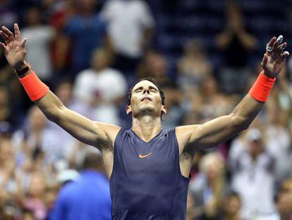 Nadal, tras ganar el partido de cuartos del US Open de 2018.