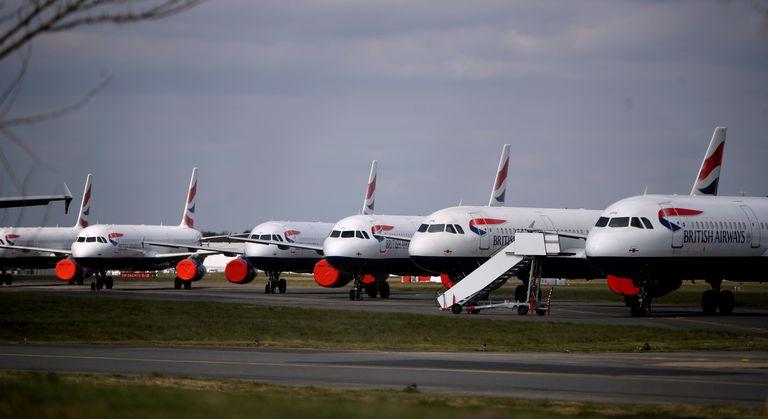 Aviones de British Airways, estacionados en el aeropuerto de Bournemouth.