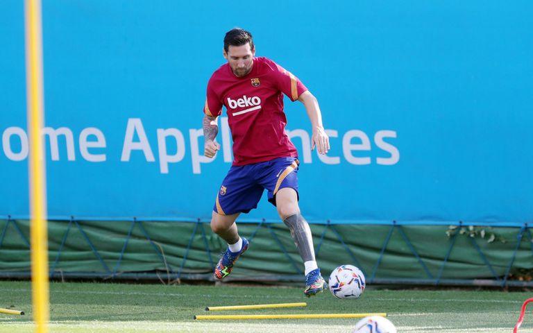 Lionel Messi, en su primer día de entrenamiento con Koeman.