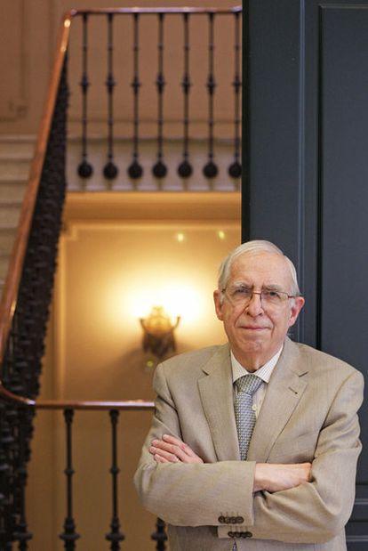 El académico y lexicógrafo Manuel Seco, ayer en la sede de la editorial Espasa en Madrid.