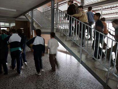 Alumnos de Primaria, en el colegio concertado Amorós de Madrid, de la orden religiosa de los Marianistas, en una imagen de archivo.