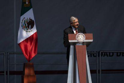 El presidente Andrés Manuel López Obrador durante los festejos del primer año de gobierno.