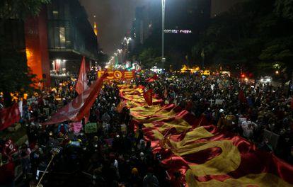 Demonstration against the president of Brazil, Jai Bolsonaro, on Avenida Paulista in São Paulo, this Saturday.
