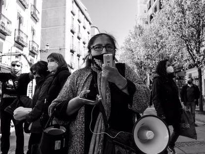 Imagen de la marcha organizada en Madrid por la Coordinadora de Pueblos y Barrios de la capital el 21 de marzo de 2021.