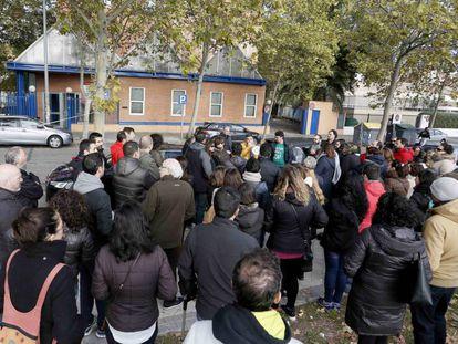 Protesta de un AMPA en Leganés, Madrid.