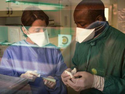 Investigadores de la tuberculosis en Manhiça (Mozambique).