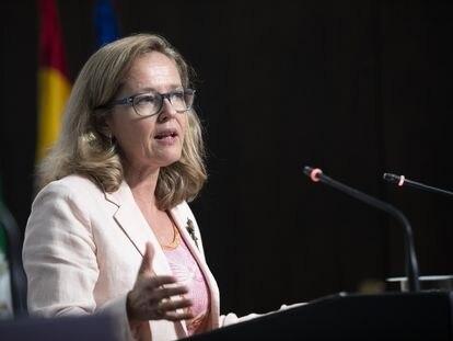 La vicepresidenta primera del Gobierno y ministra de Asuntos Económicos, Nadia Calviño.