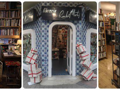 De izquierda a derecha, Charlotte Delottre de la librería Desperate Literature, la entrada a la librería Rafael Alberti, y Pepe Olona en su librería Arrebato Libros.