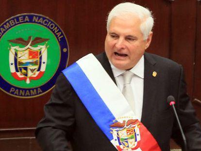 El presidente de Panamá, Ricardo Martinelli, en la Asamblea Nacional.