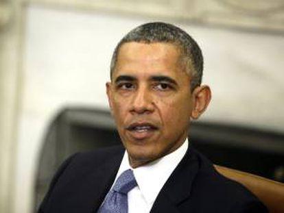 El presidente de EE.UU., Barack Obama, ofrece una rueda de prensa conjunta con el primer ministro israelí, Benjamín Netanyahu (no aparece), tras su encuentro bilateral en el Despacho Oval de la Casa Blanca, Washington (Estados Unidos).