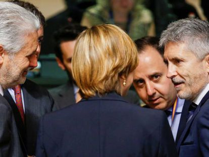 El ministro de Interior, Fernando Grande-Marlaska, en la reunión con sus homólogos europeos, el pasado 7 de junio, en Luxemburgo.