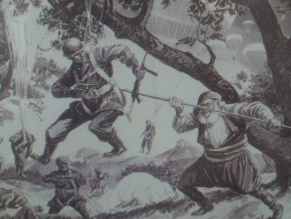 Irregular cretense alanceando a un paracaidista alemán durante la invasión de la isla en 1941, según una ilustración popular de la época.