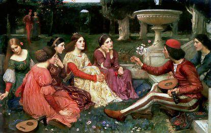 La obra de William Walterhouse de 1916 que evoca la escena del 'Decamerón'.