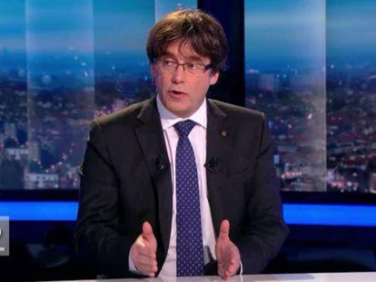 Puigdemont durante su intervención para la televisión belga, este viernes.